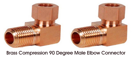 Brass Compression 90 Degree Male Elbow Connector